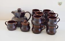 Coffee Tea Set RARE 15 Piece 1980s Retro Brown Glazed S Portugal Stoneware