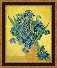 "Vincent van Gogh Vase of Irises Against a Yellow Background 27""x32.5"" (V06-44)"
