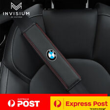 2Pc PREMIUM Leather BMW Logo Car Seat Belt Shoulder Cover Pads M3 M5 M6 X1 X3 X5