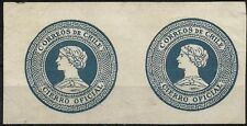 CHILE, OFFICIAL SEAL, BLUISH GRAY, YEAR 1902, MNG, PAIR