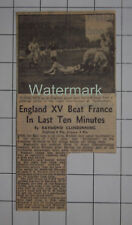 RUGBY England XV Beat France In Last Ten Minutes Twickenham 1947 News Clipping