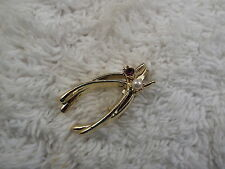 Goldtone Purple Rhinestone White Bead Wishbone Pin (A14)