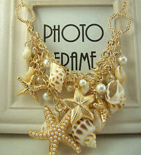 Sweet Chunky Gold Tone Sea Shell Starfish Faux Pearl Bib Statement Necklace New