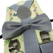 """LIGHT GRAY"" Matching Suspender & Bow-Tie Set Kids Toddler Baby Boys Girls"