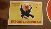 OLD 1950s FRENCH BEER LABEL, BRASSERIE DU CORBEAU LECELLES FRANCE, EXPORT 2