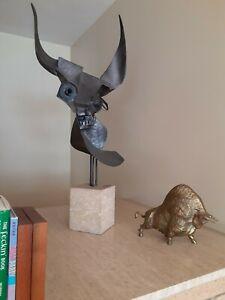 Monumental Mid century Abstract steel Bull Sculpture Santos Fernandez Ca: 1972