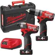 MILWAUKEE M12PP2A-402C KIT Fuel TRAPANO + AVVITATORE IMPULSI 2 BATTERIE 12V 4AH