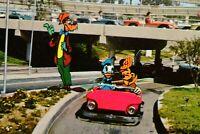Vintage Postcard Disneyland Tomorrowland Autopia Goofy, Micky & Donald