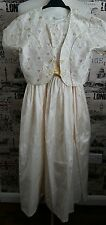 BHS IVORY /GOLD SHANTUNG EMBROIDERED SILK BRIDESMAID DRESS& BOLERO AGE 10 YEARS