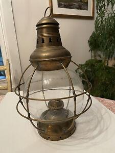 Antique Perkins 8 Glass Globe and Brass Signal Lantern (1912-1925)