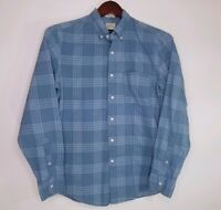 J Crew Womens Blouse Blue Plaid Print Long Sleeve Button Up Classic Size Small