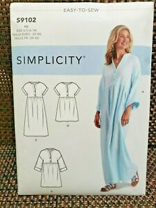 Simplicity 9102 Misses' Caftan Dresses 3 Different Lengths+ 2 Sleeve Lengths