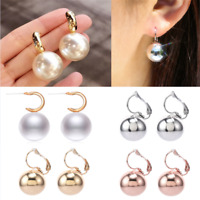 1 Pair Elegant Ball Drop Earrings Women Simple Silver Gold Rose Gold Jewelry