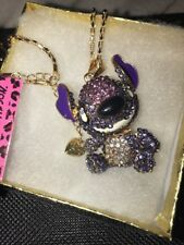 Betsey Johnson Necklace  LILO AND STITCH Royal Purple Crystals Gift Box / Bag