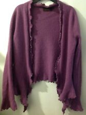 Pure Collection 100% Cashmere Lilac Mauve Waterfall Style Cardigan S