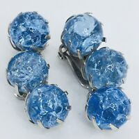 Vintage Blue Crackle Glass Earrings Clip On Beaded Silver Tone Ice