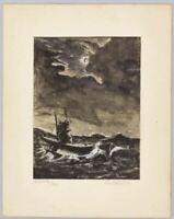 World War I WWI Imperial German Navy U-Boat Submarine At Night 1920 Painting