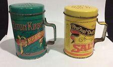 PERCIVAL DUFFIN'S SALT & ELTON KIRBY PEPPER SHAKERS, METAL SALT & PEPPER SHAKERS