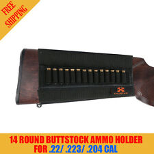 Hunter 14 Round Buttstock Ammo Holder Rifle Bullet Carrier For .22/.223/.204 cal