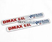 "2 New (PAIR) CHROME & RED Duramax Diesel ""DMAX 6.6L"" Allison EFI LIVE BADGES"