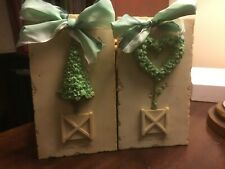 (2) Mudpie-Topiary Plaques W/Ribbons-1999-Cone/Heart Topiaries-FREE SHIPPING!