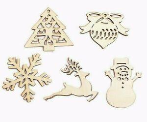 12 Wooden Christmas Shapes Mix Embellishment Cardmaking Xmas Decoration Mdf Type