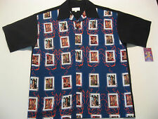 Rockabilly Bowling Shirt L Black Kings Flames Pinups Tattoo Hipster Swing Boogie