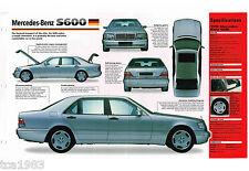 1996/1997/1998 Mercedes-Benz S600/s-600 SPEC Hoja/Catálogo/CATALOG ,' 98