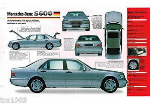 1996 / 1997 / 1998 MERCEDES-BENZ S600 / S-600 SPEC SHEET / Brochure /Catalog,'98