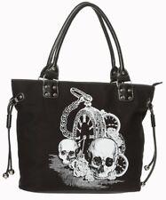 6d13eb27c448c Banned Skull Clock Black Bag Schulter Tasche Handtasche Totenkopf Uhr  Schwarz