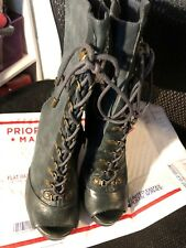 "Boots, JUICY COUTURE, blue suede,laces, cut front & back, 5"" heel SZ:10M"