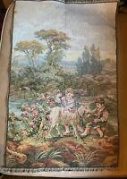 "Vintage Italian Woven Tapestry- Pastoral Scene W Children-18"" X 29"""