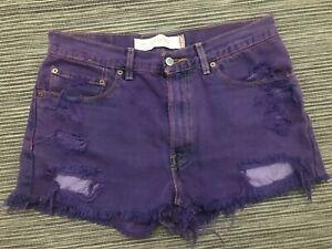 Petros Vintage Levi's High Waisted Shorts Women's Sz 32 Purple Distressed