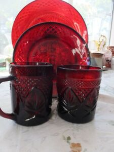 Set of 4 Collectable Red Luminarc Cristal D' Arques Ruby  Glasses Plates Cup Mug