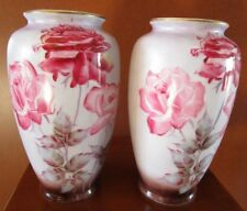 PAIR OF VINTAGE NIPPON HAND PAINTED VASES CRANBERRY RED & PINK ROSES