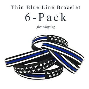 Thin Blue Line American Flag Police Bracelet - Blue Lives Matter 6 Pack