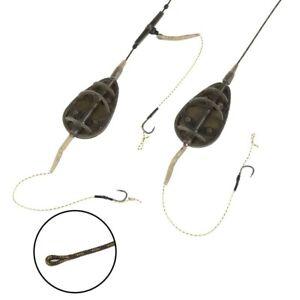 Fishing Carp Method Feeder Rig Hair Group Lead Core Line Flat Tackle Barbed Hook