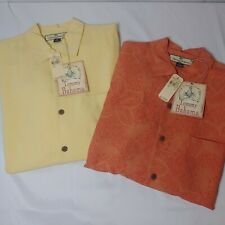 Lot of 2 Tommy Bahama Button Shirt Size Small 100% Silk Brand New Orange Yellow