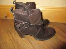 BORN ~SHOLA~ BROWN Leather BUCKLE ZIP STACKED Heels ANKLE BOOTIES W's 8 EU 39