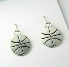 Basketball Earrings Sports pewter charms Team Cheer .925 sterling silver hooks
