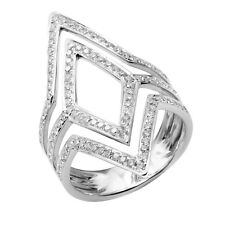Chevron Statement Cocktail Right Hand Ring 14K White Gold Pave Diamond Wide