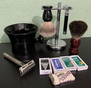 Edwin Jagger Ebony Black Mug Brush Safety Razor Blade Stand Wet Shaving Lot