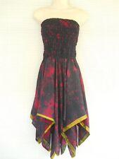 Sexy Vintage Silk Handmade Handkerchief Tube Party Cruise Evening Tie Dye Dress