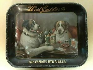 WEST END BREWING CO. UTICA CLUB  BEER TRAY Dogs Drinking Smoking Pre Pro