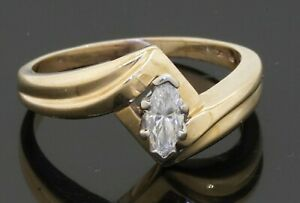 14K gold .38CT VS/G Marquise diamond solitaire wedding/engagement ring size 8.25