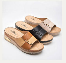 Women's Summer Wedge Heels Sandals Cut Out Peep Toe Pumps Casual Slip On Shoes
