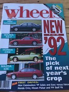 Wheels Car magazine NOV 1991 HSV SENATOR CRX RX7 626 CALAIS VW V6 GOLF CIVIC EXE