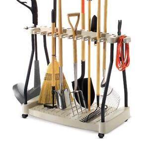 Garden Tools Storage Rack With Rolling Wheels Durable 42in. Yard Organizer Tool