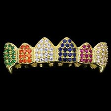 18K Gold Plated High Quality Multi Color CZ Top Fang GRILLZ Teeth Grills