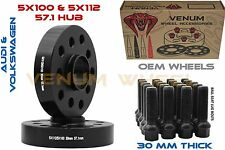30mm Audi 5x100 5x112 57.1 Hub Black HubCentric Wheel Spacers W/ Extended Bolts